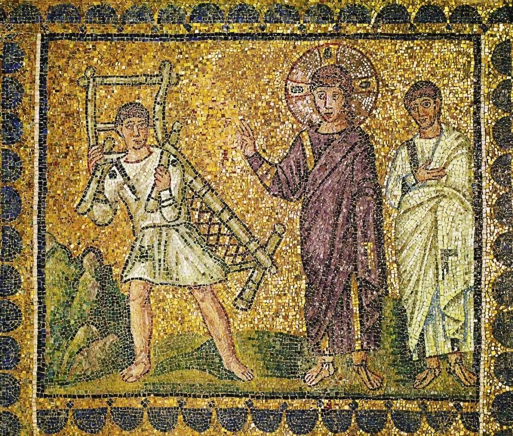 Jesus heals the paralytic. A mosaic in Ravenna