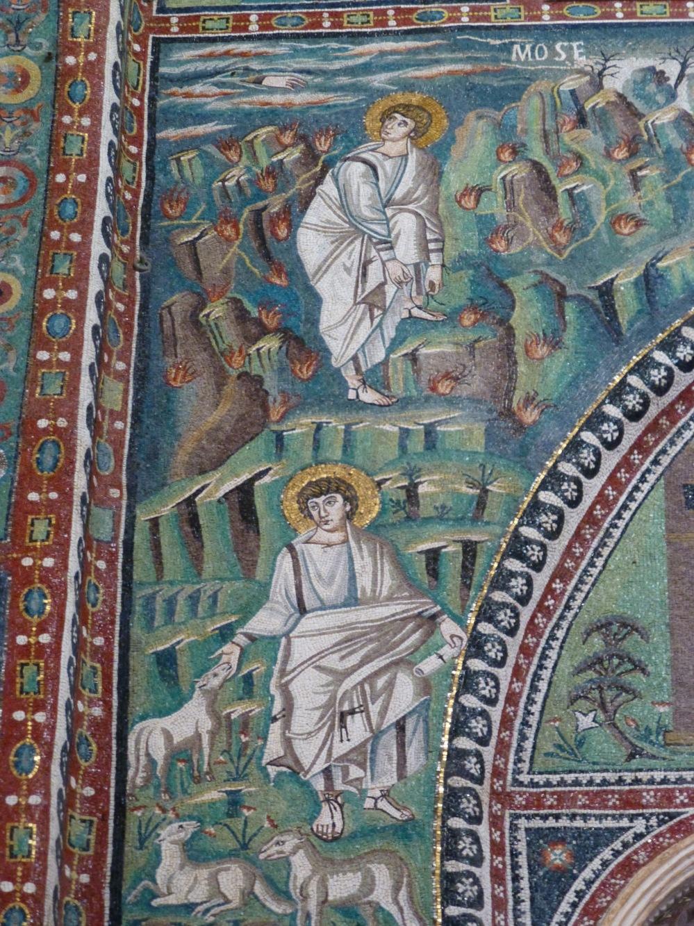 Moses as a shepherd and Moses and the burning bush, mosaics, San Vitale, Ravenna