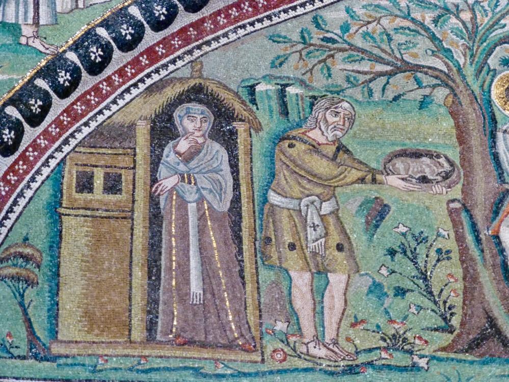 Sarah and Abraham at the Oak of Mamre; San Vitale, Ravenna
