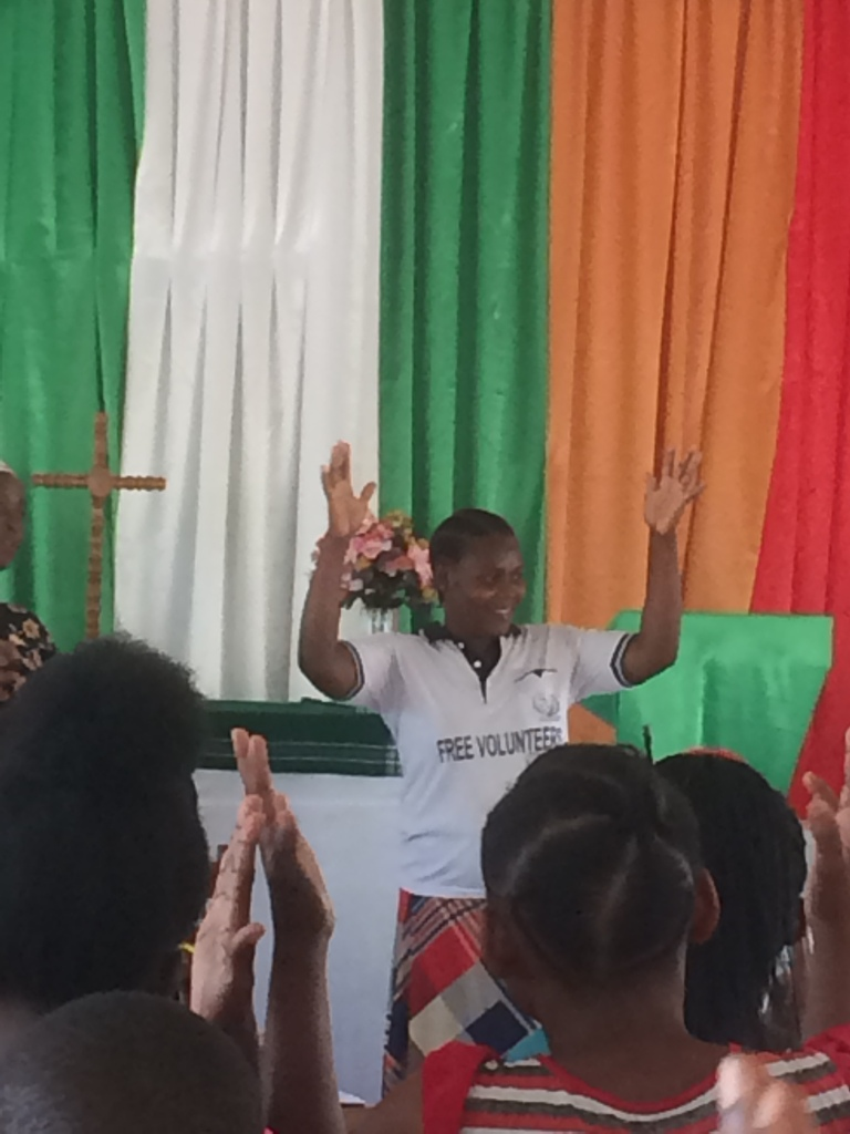 Teaching Tanzanian sign language to the students of Msalato Theological College