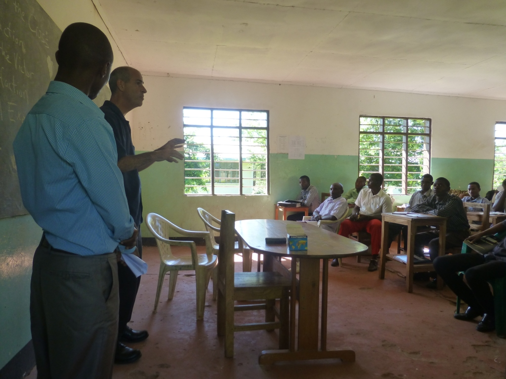 Joseph Pagano and Simon Singano teaching at St. Barnabas in Korogwe.