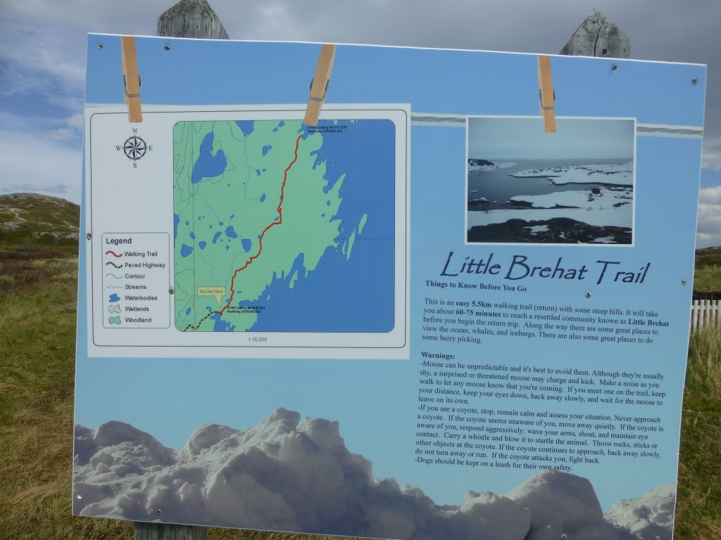 Trail info sign for Little Brehat Trail posted in Great Brehat NL